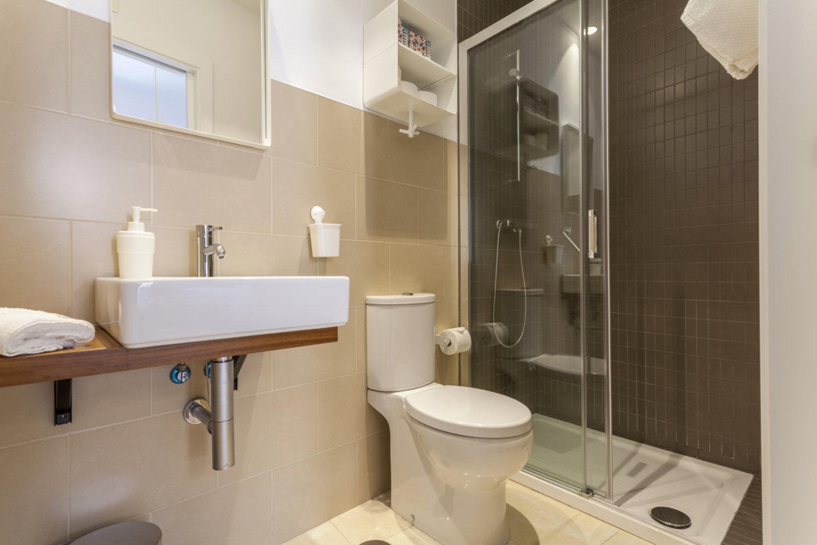 Baño con ducha alicatada