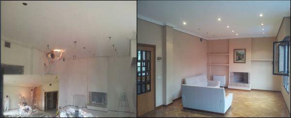 Foto alisar paredes y techos colocacion focos en el techo y estanterias pladur de pintura en - Como alisar paredes ...