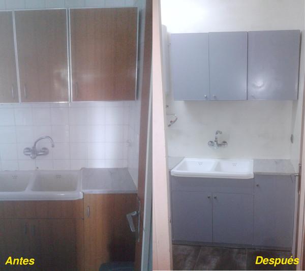 Foto antes y despu s de la zona del fregadero de reformas for Microcemento banos precio