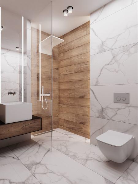 Foto ba o con ducha forrada en porcel nico imitaci n for Porcelanico imitacion marmol