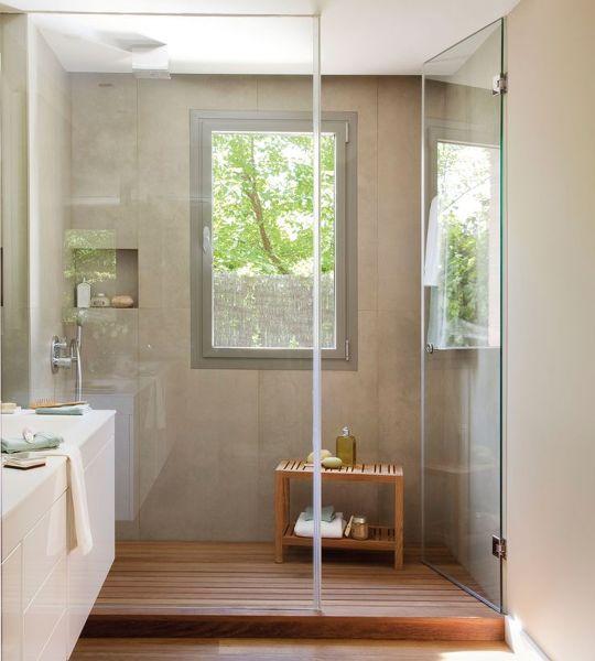 Foto ba o con mampara de cristal de marta 1435161 - Estantes para interior ducha ...