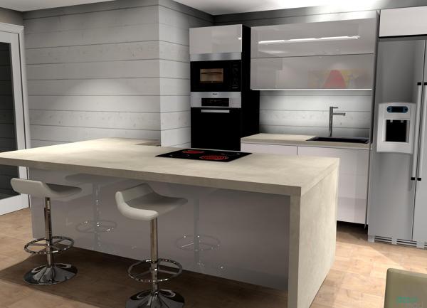 Foto cocina abierta encimera neolith beton de decomad - Neolith precio ...