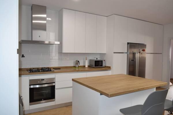 Foto cocina formica blanco mate de lineal cocinas for Puertas de cocina formica
