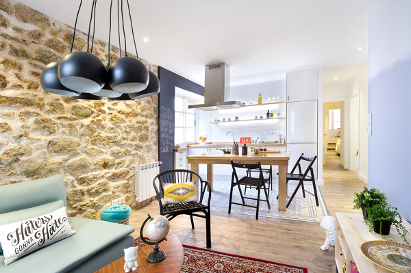 Foto cocina y sal n integrados en el mismo espacio de for Setas decoracion