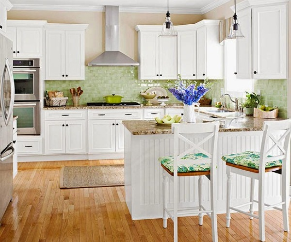 Foto cocina blanca suelo madera de decoratualma 878799 - Suelo madera cocina ...