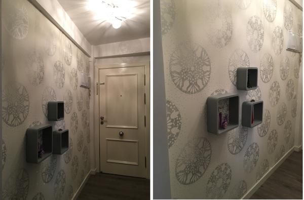 Foto decoraci n entrada con papel pintado de leradicore for Papel pintado entrada