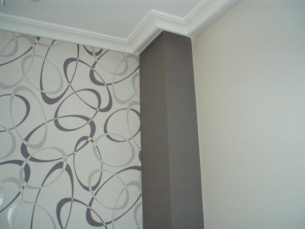 Foto detalle papel pintado y pintura columna sal n de estancias acogedorassl 1417666 habitissimo Papel pintado salon