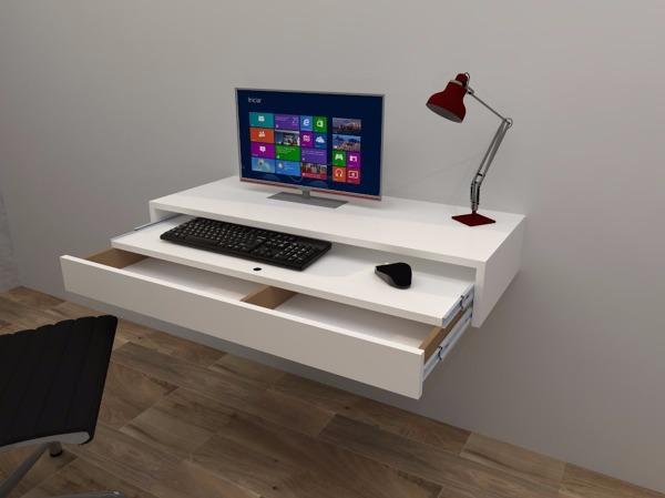 Foto escritorio flotante con balda y cajon extraible de for Muebles de escritorio modernos para casa