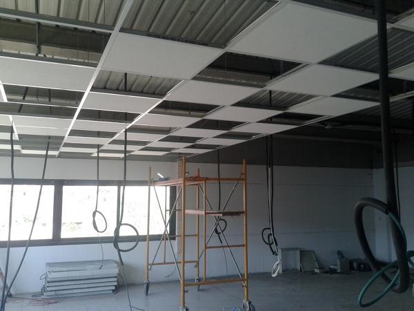 Foto falso techo registrable y tabiques en oficina de tot for Falso techo rustico