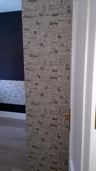 Foto habitacion pintura lisa lacas papel pintado de - Combinar papel pintado y pintura ...