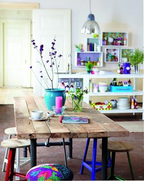 Foto mesa de comedor con taburetes de elenatorrente d az for Comedor con taburetes