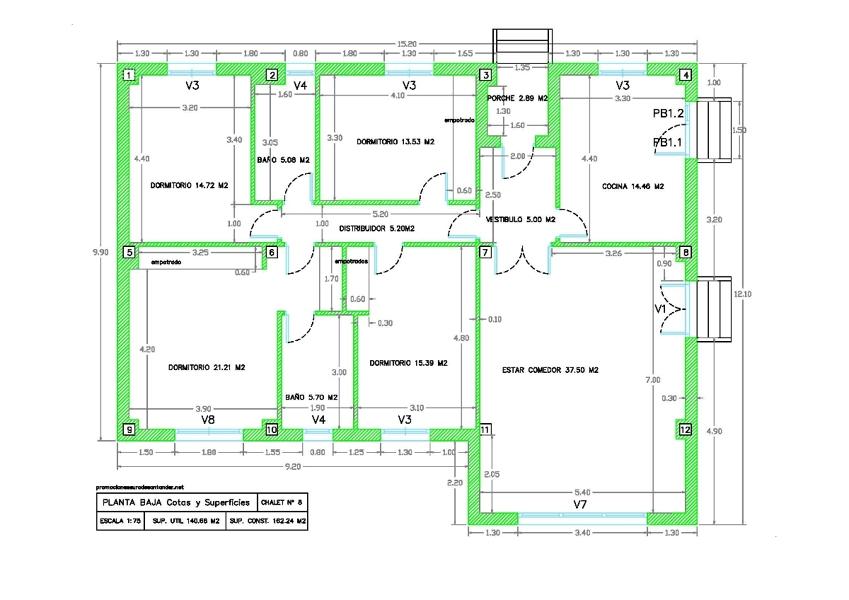 Modelo de chalet nº 8 - Plano planta baja Cotas y Superficies