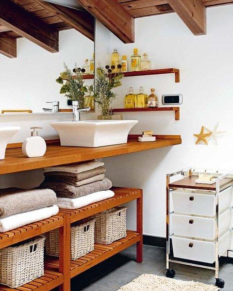 foto mueble bajero con cestas para guardar productos y
