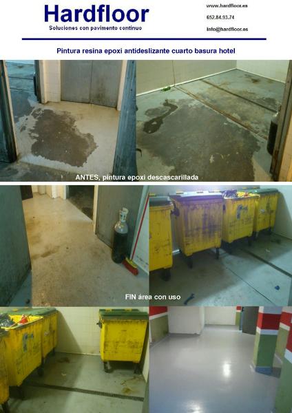 pintura epoxi antideslizante en cuarto de basura de hotel