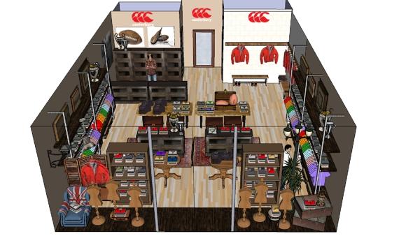 Foto proyecto decoracion 3d de tienda de ropa canterbury for Decoracion de almacenes de ropa