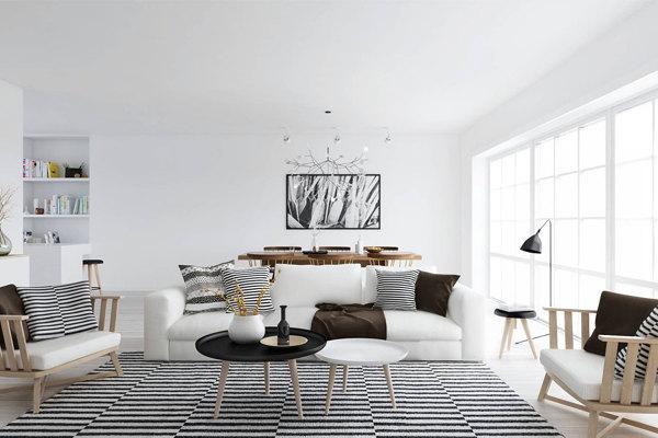 salón blanco con alfombra a rayas