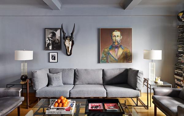 salón en gris