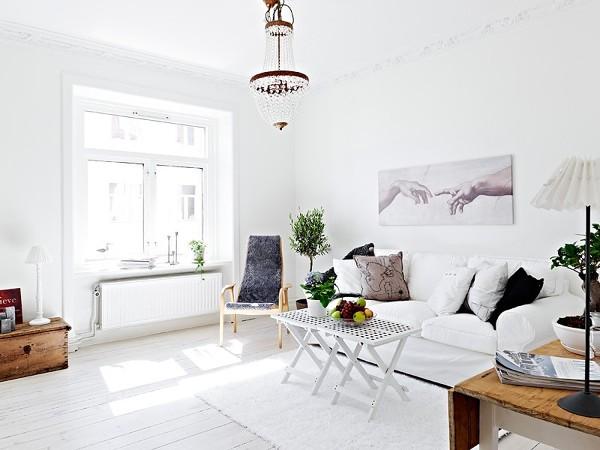 salón nórdico en blanco