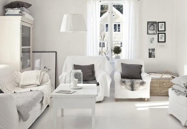salón rustico en blanco