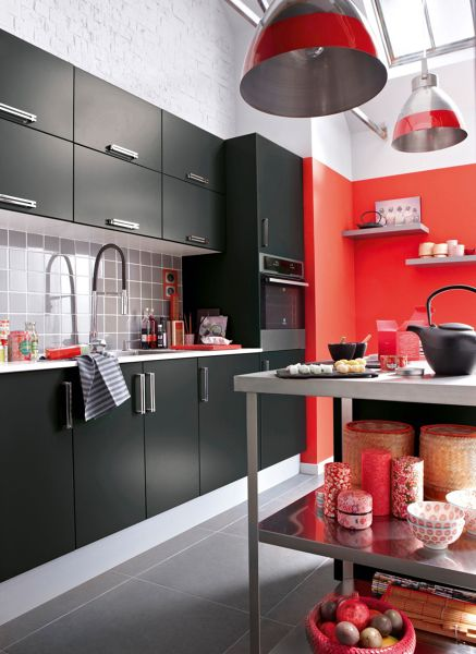 Foto terraza con pared roja de miriam mart 1197845 for Peinture v pour cuisine