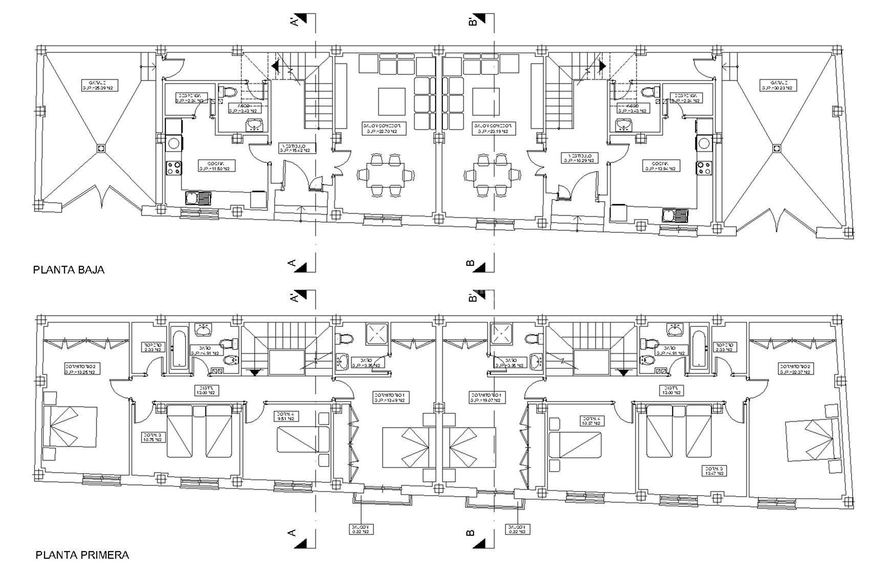 Proyecto de 2 viviendas unifamiliares adosadas y garajes - Proyectos casas unifamiliares ...