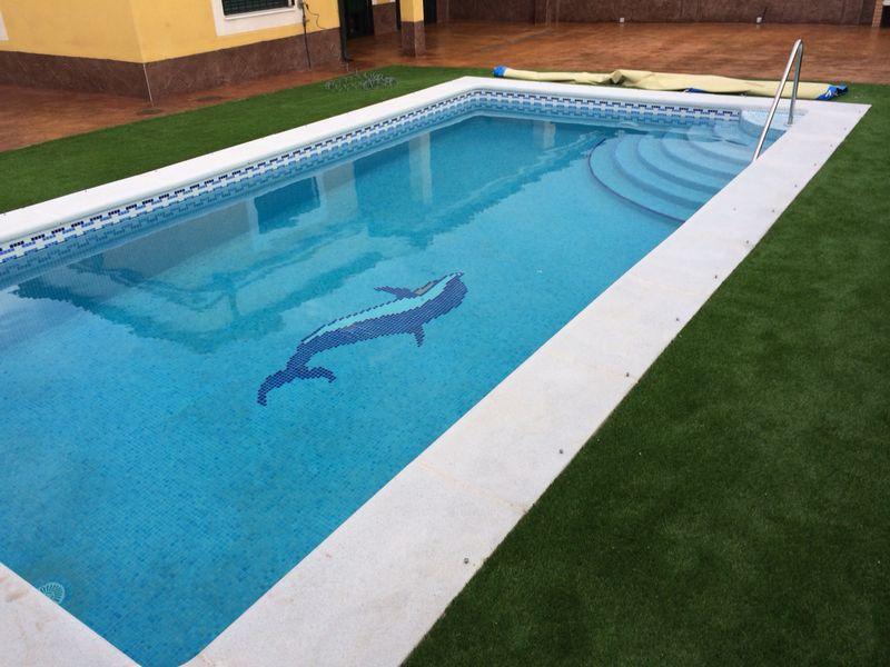 Construccion piscina hormigon impreso cesped artificial for Precio construccion piscinas hormigon