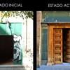 Antes y después puerta de entrada