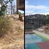 Antes y después > Zona de la Piscina, con TARIMA TECNOLÓCICA, ACERO CORTEN y ROCALLA
