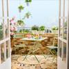 Balcón pequeño con conjunto de mesa y sillas