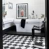 baño moderno en negro y blanco
