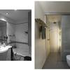 Baño principal, antes y después