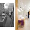 Baño principal, antes y después.