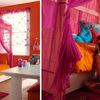 cama con dosel rosa