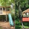 Casa del árbol con tobogán