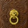 Detalle de puerta con llamador en dorado