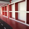 Detalle muebles a medida expositores retroiluminados tienda bicicletas