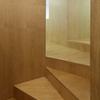 Detalles de la escalera en madera