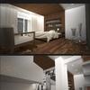 Infografia dormitorio principal y salon, proyecto de decoración