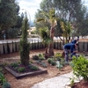 Foto: jardineras con traviesas de tren