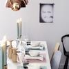 Mesa decorada en tonos pastel
