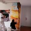 Mural decorativo para salón con temática de escalada.