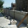 Muro de bloque en construcción