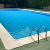 piscina reparada y llenada
