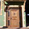Puerta calle rústica con fijos y montante