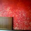Recibidor, estucado rojo con efecto esponajo
