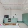 Salón con mueble en verde aguamarina