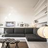 Salón con sofá de obra