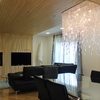 Salon, muebles de salon,techo de madera con luz led en laterales mobiliario
