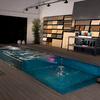 Vista general piscina lúdica desbordante.
