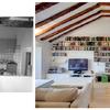Vista hacia el salón antes y después